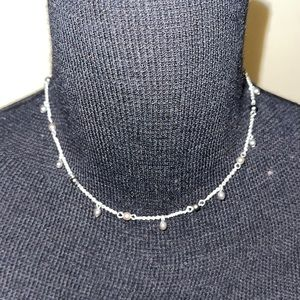 NWT Napier faux pearl station silver necklace